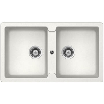 Kitchen sink 2 square bowls Frasa Enigma 90 stonesilk white