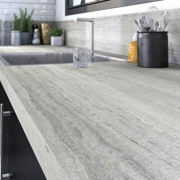 Kitchen worktop laminate travertin sand L315XD65XT3.8cm water repellent treatment