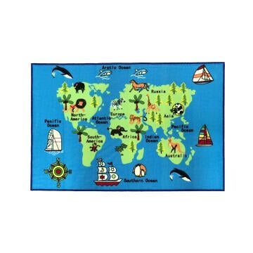 DIT PRINT NYL RUG KID WORLD MAP 100X150