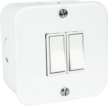 Wall mounted switch 2 levers 1 way 10A ACDC