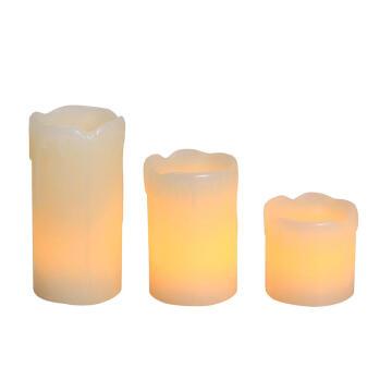 3PCS LED CANDLE DRIPPING EFFECT IVORY YE