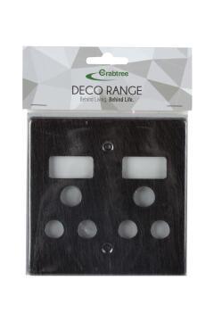 Cover plate 100x100mm for socket 2x3pin CRABTREE black aluminium