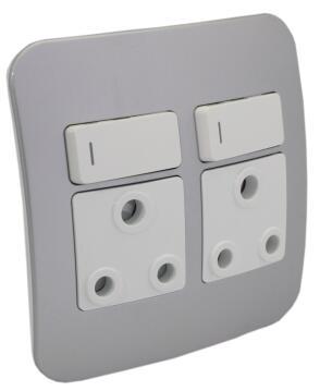 Socket 100x100mm 2x3pin VETI 1 silver