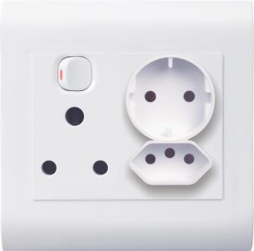 Socket 100x100mm 1x3pin - 1x2pin - 1x schuko LESCO pipelli white