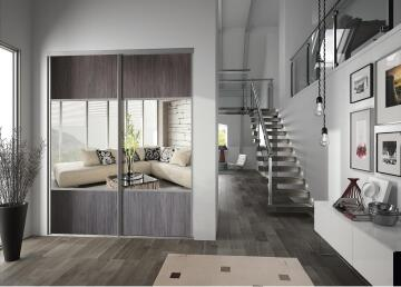 Wardrobe sliding door allure 1/2 mirror wacapou H250cm x W62cm