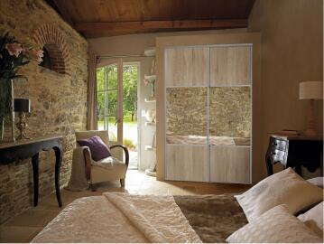 Wardrobe sliding door allure 1/2 mirror oak H250cmxW62cm