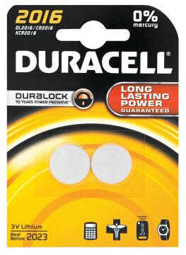 Battery alkaline DURACELL CR2016 x2