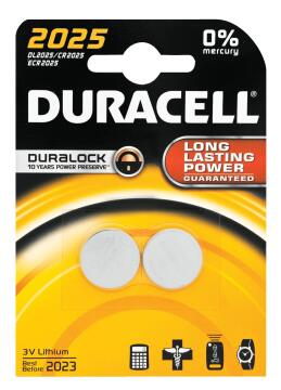Battery alkaline DURACELL CR2025 x2