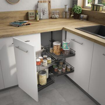 Kitchen sliding wire basket left corner angle cabinet grey 58cm X106cm X76.8cm