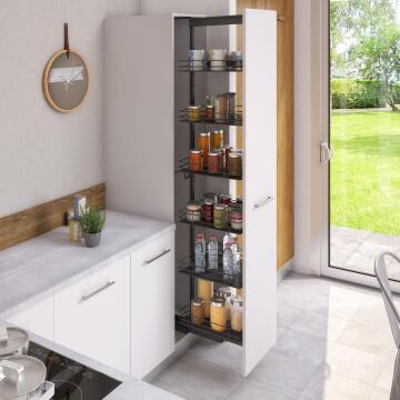 Kitchen sliding wire basket long pantry cabinet grey 58cm x 45cm x 214.4cm