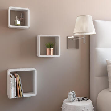 Set of 3 cubed shelves white 20x10/24x10/28x10cm