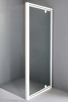 Shower corner entry pivot glass white adjecent pivot