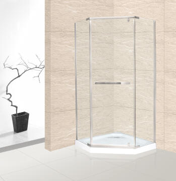 Shower corner entry pivot square CANNES chrome pentagonal 88,5x88,5x185CM