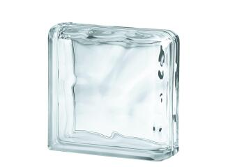 Glass Block Clear Wave Corner End