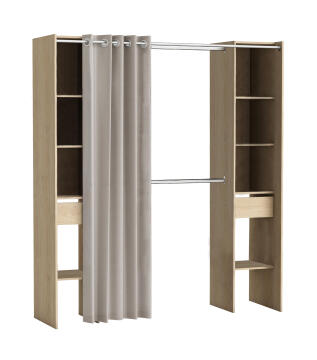 WARDROBE KIT 2 COLUMN,2 DRAWERS+1CURTAIN 203CM OAK