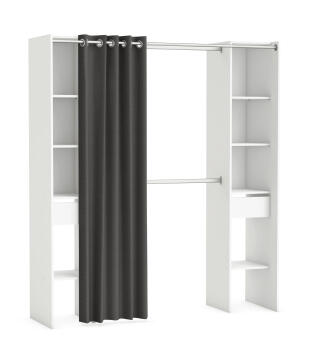WARDROBE KIT 2 COLUMN,2 DRAWERS+1CURTAIN 203CM WHITE