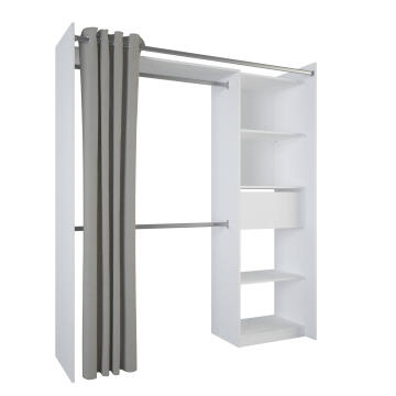 WARDROBE KIT 1 DRAWER+1 CURTAIN 173CM WHITE