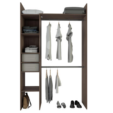 WARDROBE KIT 2 BASKETS COMPACT 136 WALNUT