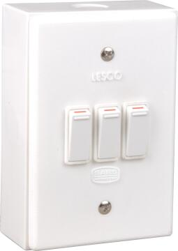 Wall mounted switch 50x100mm 3 levers 1 way LESCO white