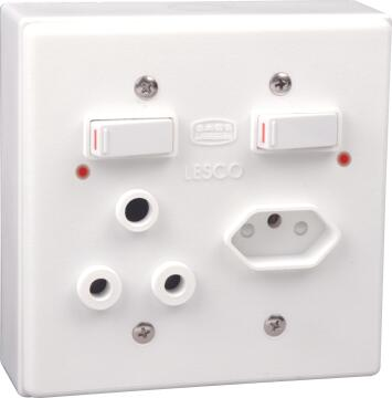 Wall mounted socket 100x100mm 1x3pin 1x2pin LESCO