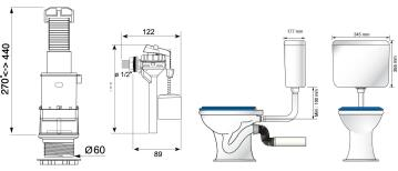 Toilet cistern WIRQUIN classic front flush low level