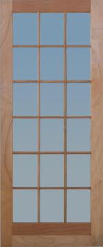 Patio door engineered hard wood 18 light