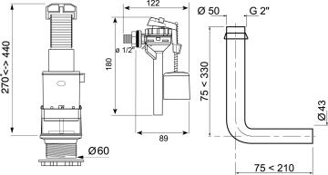 Toilet mechanism WIRQUIN front flush side inlet vale low level