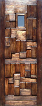Entry door solid wood rustic glass