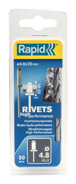 RIVETSD4.8X25MMHIGHPERFALU50PCS+DRILLC