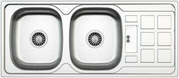 Kitchen sink 2 square bowls 1 drainer antiscratch stainless steel 1200cm x 500cm