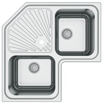 Kitchen sink cnr 2 square bowls 1 drainer antiscratch stainless s 830cm x 830 cm
