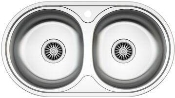 Kitchen sink 2 round bowls stainless steel 840mm x 440mm