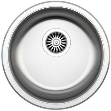 Kitchen sink 1 round bowl antiscratch stainless steel D 460cm