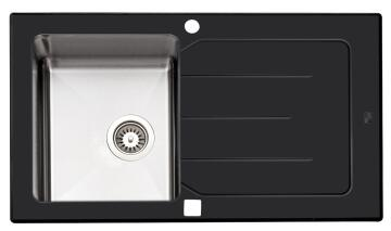 PARKER AS84 Glass Black Stainless Steel Sink 860 x 500mm Drop In