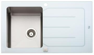 PARKER AS84 Glass White Stainless Steel Sink 860 x 500mm Drop In
