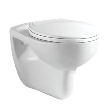 Suspended toilet wall hung pan+seat ceramic solo Capri white