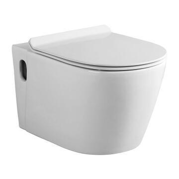 Suspended Toilet Wall Hung Pan+Seat Ceramic Bijiou Amour White