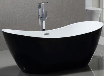 Bath free standing sleigh acrylic le mans bijiou white/blk 170x80x68cm