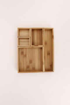 Storage set 5 Bamboo SENSEA light carbon finish