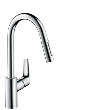 Kitchen tap lever mixer with pull out spray HANSGROHE Décor chrome