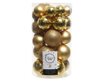 30PC CHRISTMAS BAUBLES TUBE ASSORTED GOLD