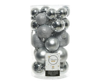 30PC CHRISTMAS BAUBLES TUBE ASSORTED SILVER