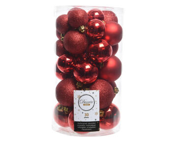 30PC CHRISTMAS BAUBLES ASSORTED RED