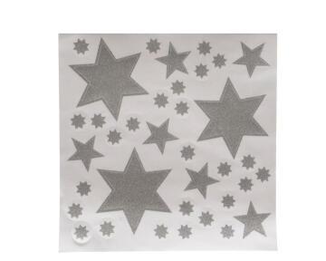 CHRISTMAS WINDOW DECOR GLITTER STAR SILVER