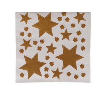 CHRISTMAS WINDOW DECOR GLITTER STAR GOLD