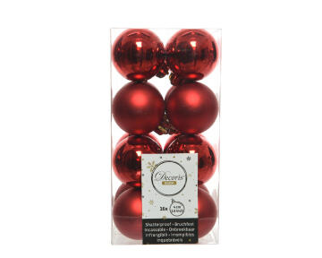 16PC XMAS BAUBLES MATT/SHN RED 4DIA