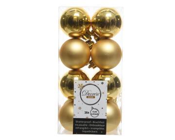 16PC CHRISTMAS BAUBLES MATT/SHEEN GOLD