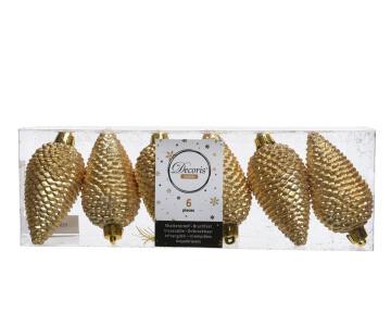 6PC XMAS PINECONE TRANSBOX GOLD 5X8CM