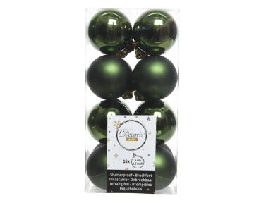 16PC XMAS BAUBLES MATT/SHEEN GREEN