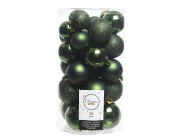 30PC CHRISTMAS BAUBLES TUBE ASSORTED GREEN